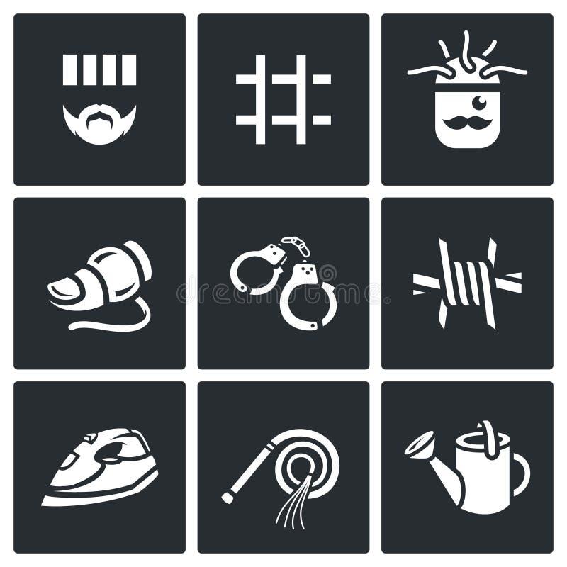Ensemble de vecteur d'icônes d'interrogation Criminel, prison, chaise électrique, détecteur de mensonge, arrestation, isolation,  illustration stock