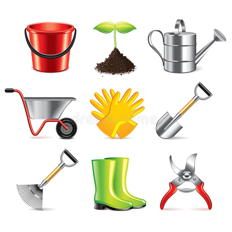 Ensemble de vecteur d'icônes d'outils de jardinage illustration de vecteur