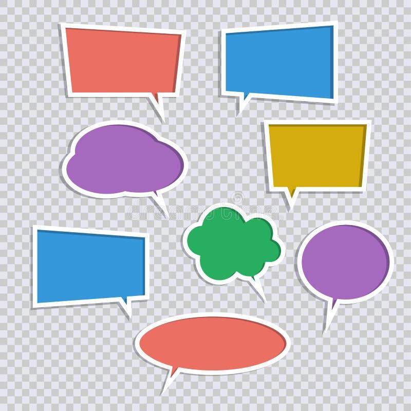 Ensemble de vecteur d'icônes de bulle de la parole de couleur de papier avec des ombres illustration libre de droits