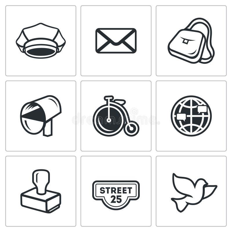 Ensemble de vecteur d'icônes de bureau de poste Facteur, lettre, la livraison, transport, International, envoyant, adresse, pigeo illustration libre de droits
