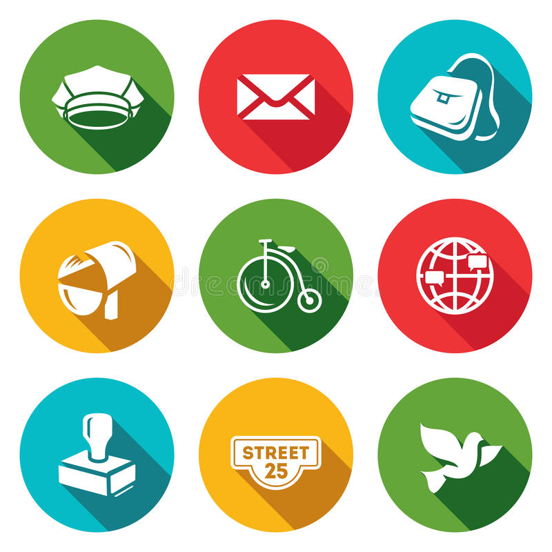 Ensemble de vecteur d'icônes de bureau de poste Facteur, lettre, la livraison, transport, International, envoyant, adresse, pigeo illustration stock
