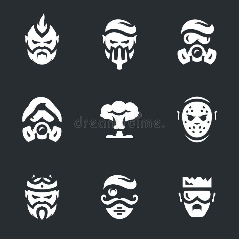 Ensemble de vecteur d'icônes de caractères de Courrier-apocalypse illustration de vecteur