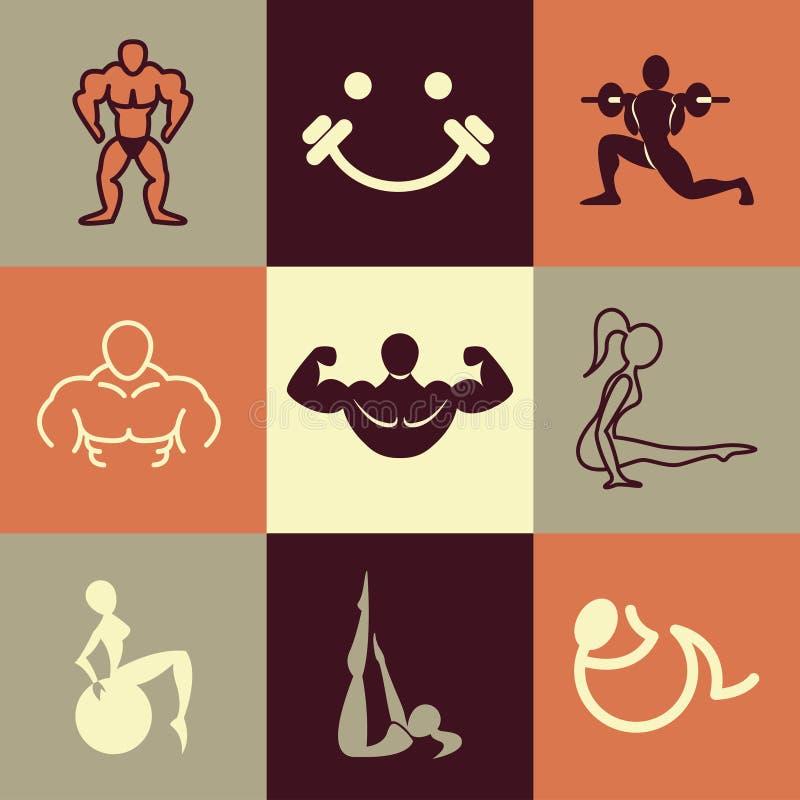 Ensemble de vecteur d'icônes de forme physique illustration stock