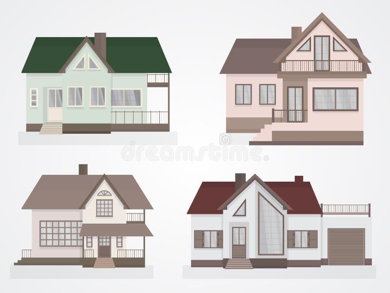 Ensemble de vecteur d'icônes de maisons illustration stock