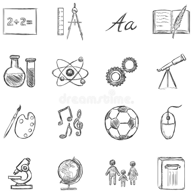 Ensemble de vecteur d'icônes de matières d'enseignement illustration stock