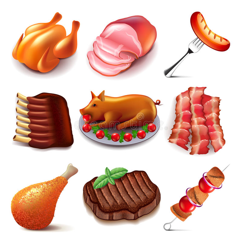 Ensemble de vecteur d'icônes de nourriture de viande illustration libre de droits