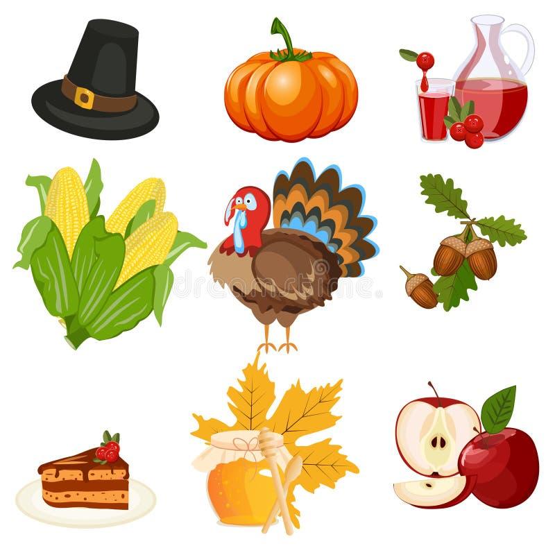 Download Ensemble De Vecteur D'icônes De Thanksgiving Illustration de Vecteur - Illustration du fruit, baies: 77158228