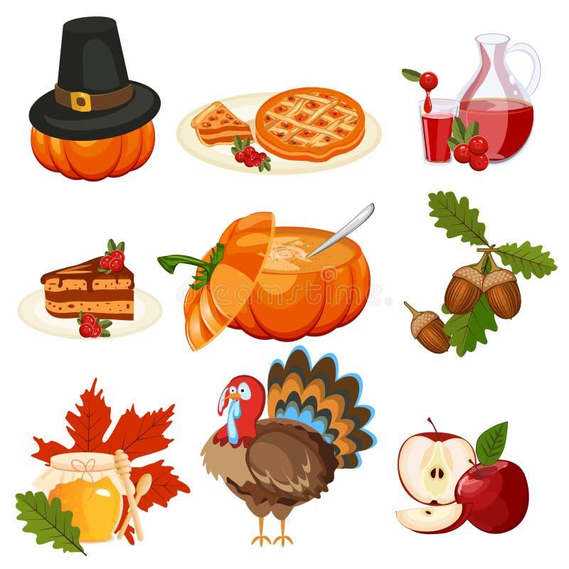 Ensemble de vecteur d'icônes de thanksgiving images stock