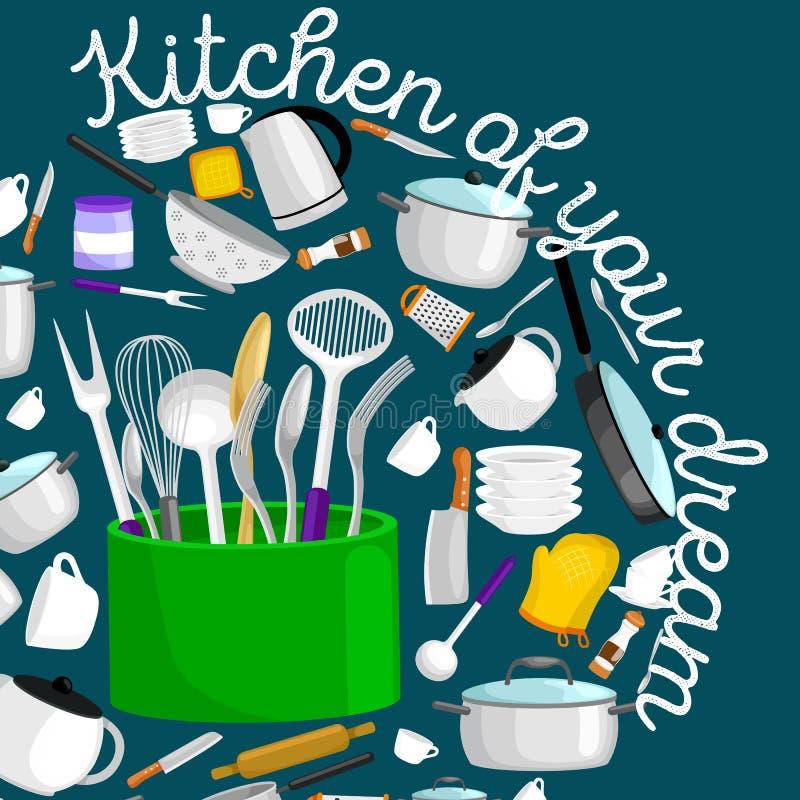 Ensemble de vecteur d'icônes de vaisselle de cuisine Plat de poche de spatule de casserole de tasse de fourchette de couteau de n illustration libre de droits