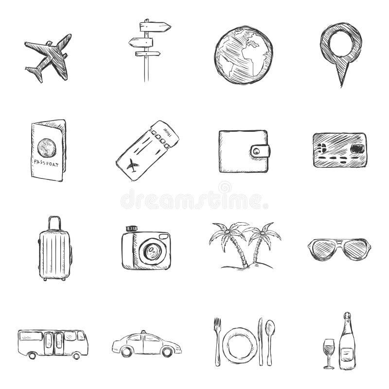 Ensemble de vecteur d'icônes de voyage et de vacances de croquis illustration de vecteur