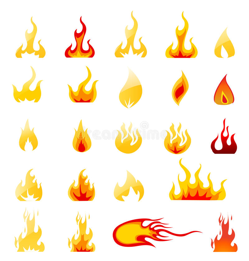 Ensemble de vecteur d'icônes du feu illustration stock