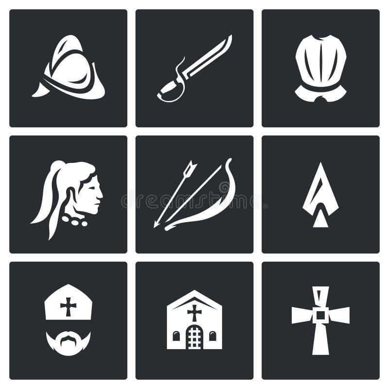 Ensemble de vecteur d'icônes espagnoles de conquérant Casque, sabre, armure, Natif américain, arc, flèche, lance, évêque, église illustration libre de droits