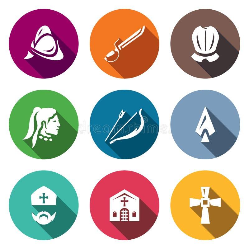 Ensemble de vecteur d'icônes espagnoles de conquérant Casque, sabre, armure, Natif américain, arc, flèche, lance, évêque, église illustration de vecteur