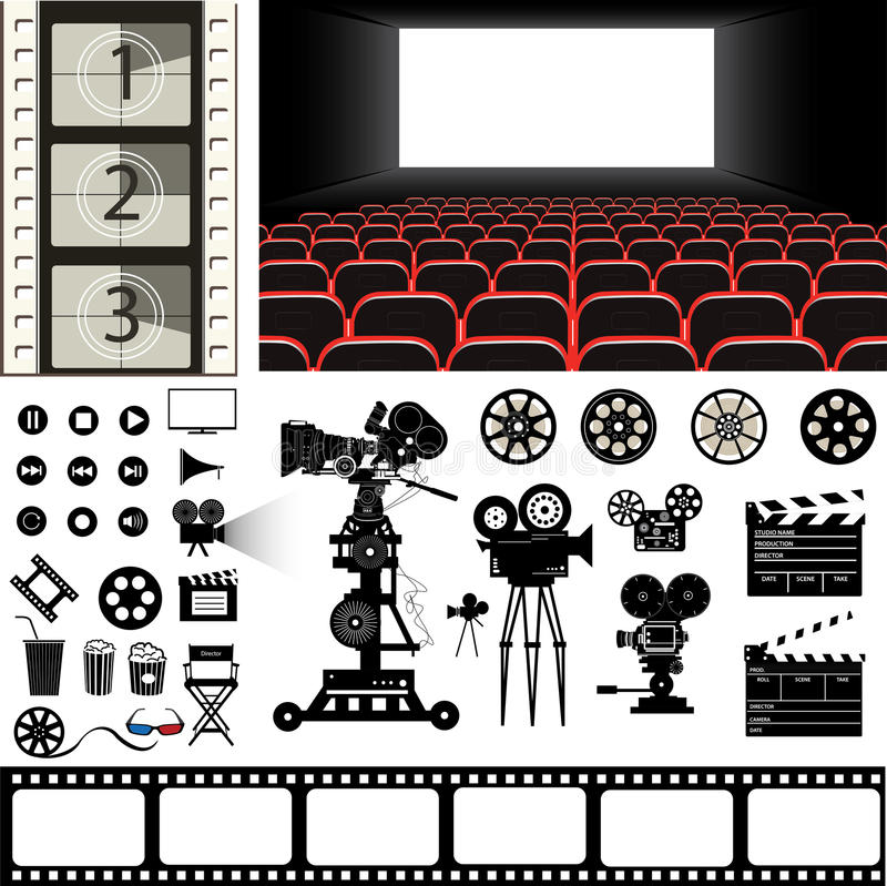 Ensemble de vecteur d'icônes et de substance de thème de cinéma illustration stock