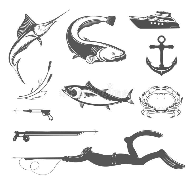 Ensemble de vecteur d'icônes et signes d'équipement pour Spearfishing illustration de vecteur
