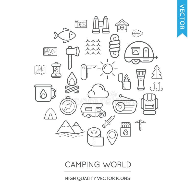 Ensemble de vecteur d'icônes minces plates modernes campantes inscrites dans rond illustration de vecteur