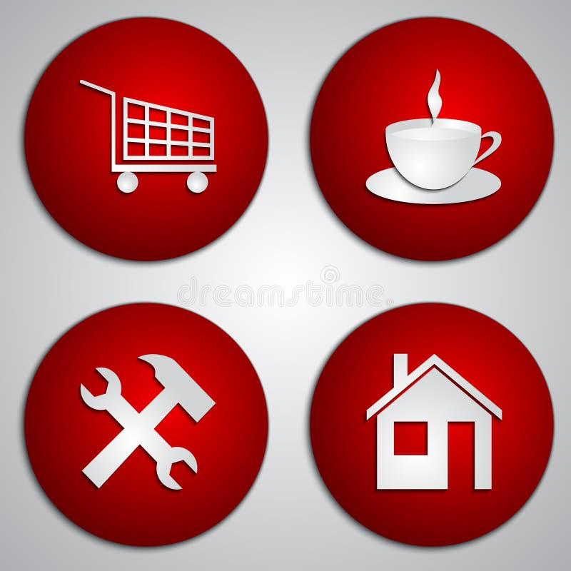 Ensemble de vecteur d'icônes rouges rondes de site avec la coupe de papier illustration de vecteur