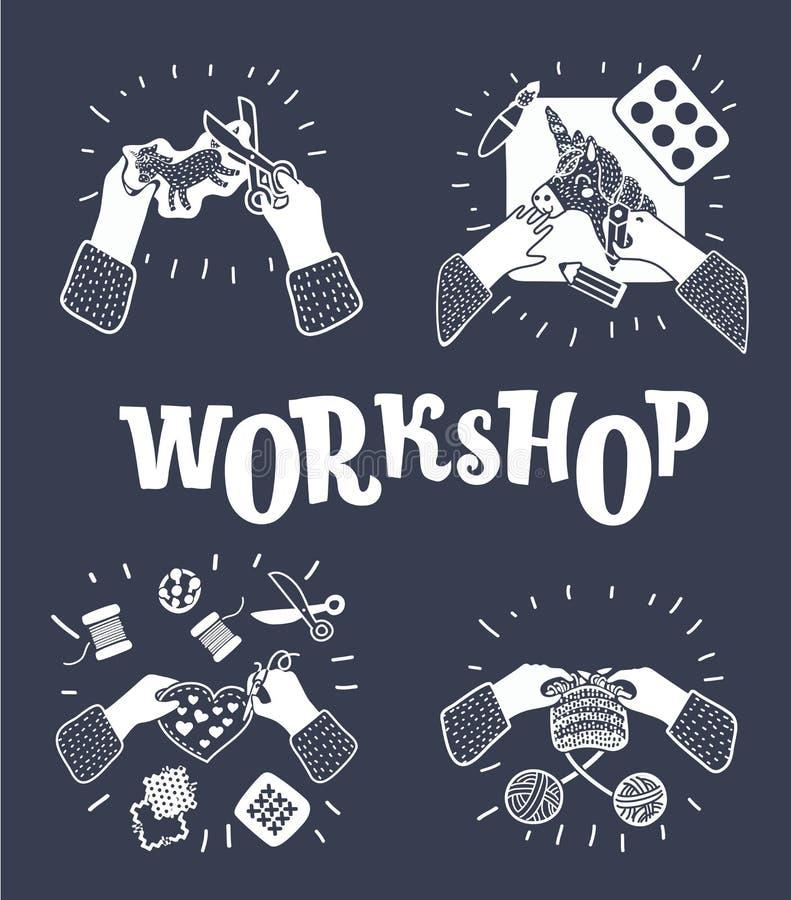 Ensemble de vecteur d'illustration des enfants Art-travaillant le processus Vue supérieure avec les mains créatives illustration de vecteur
