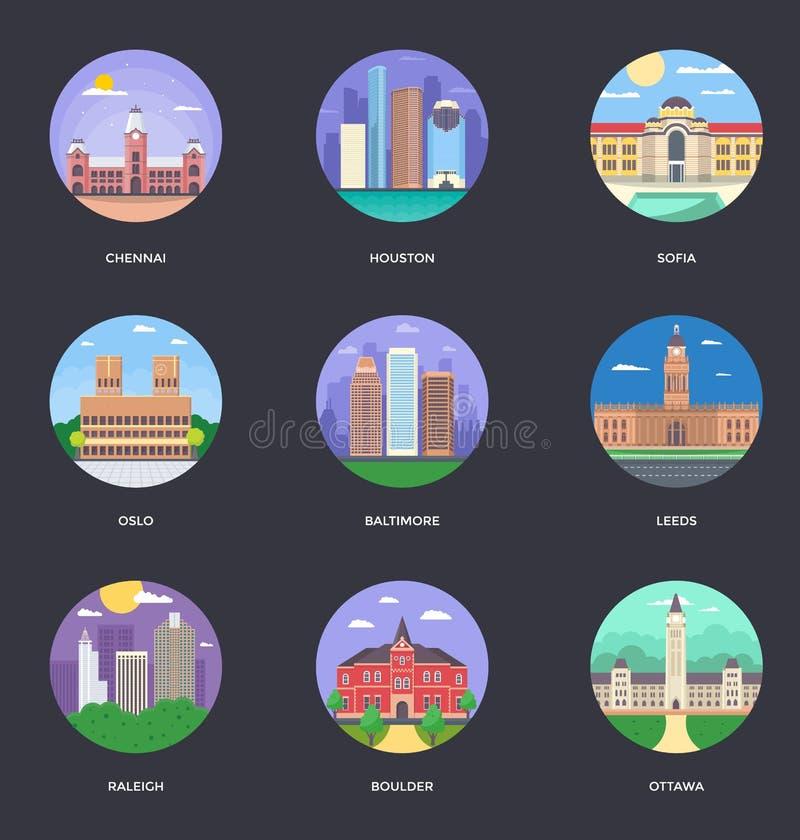 Ensemble de vecteur d'illustration de villes du monde illustration libre de droits