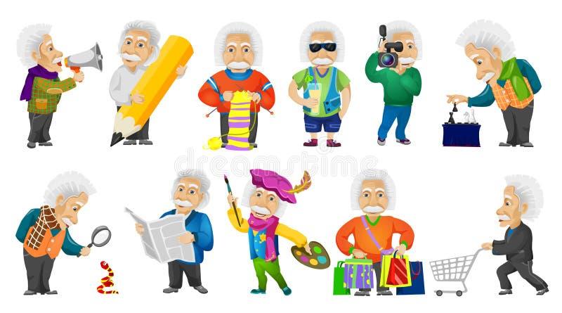 Ensemble de vecteur d'illustrations aux cheveux gris de vieil homme illustration de vecteur