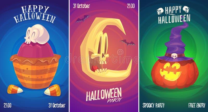 Ensemble de vecteur d'illustrations de Halloween illustration libre de droits