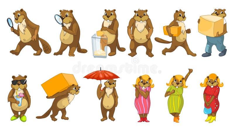 Ensemble de vecteur d'illustrations mignonnes de castors illustration stock