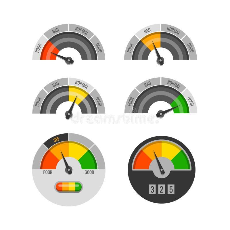 Ensemble de vecteur d'indicateurs de score de crédit illustration stock
