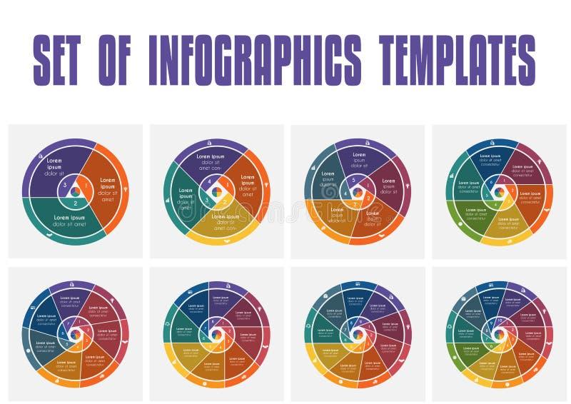 Ensemble de vecteur d'infographics Éléments c de calibres d'appartement universel illustration de vecteur