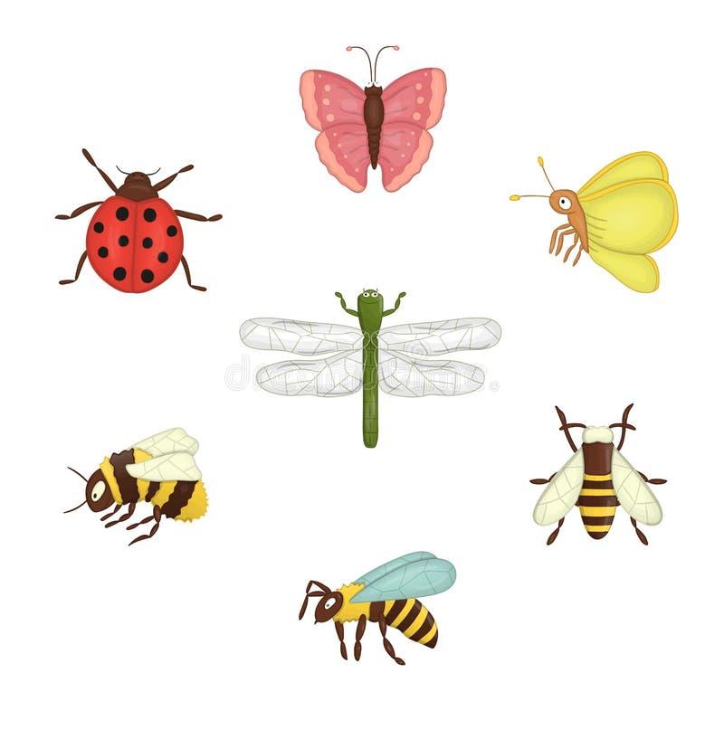 Ensemble de vecteur d'insectes color illustration stock