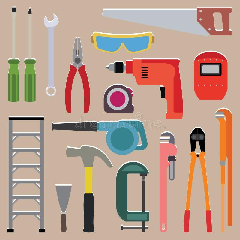 Ensemble de vecteur d'instrument d'outils illustration stock