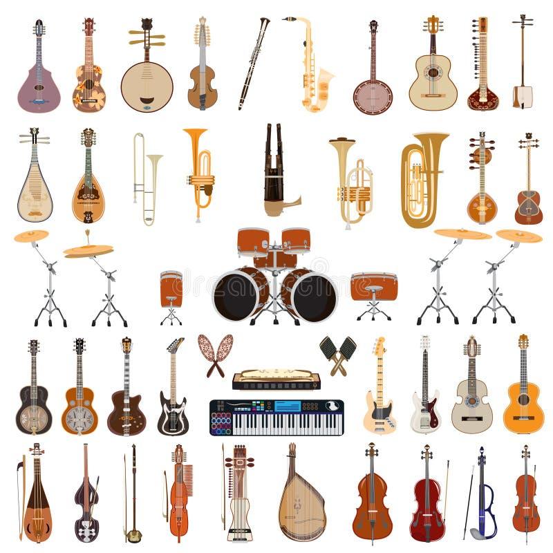 Ensemble de vecteur d'instruments de musique sur le fond blanc illustration de vecteur