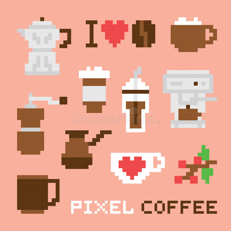 Ensemble de vecteur d'isolement par café d'art de pixel illustration stock