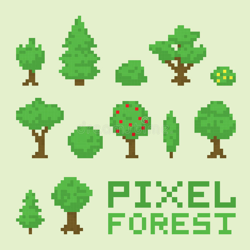 Ensemble de vecteur d'isolement par forêt d'art de pixel illustration de vecteur