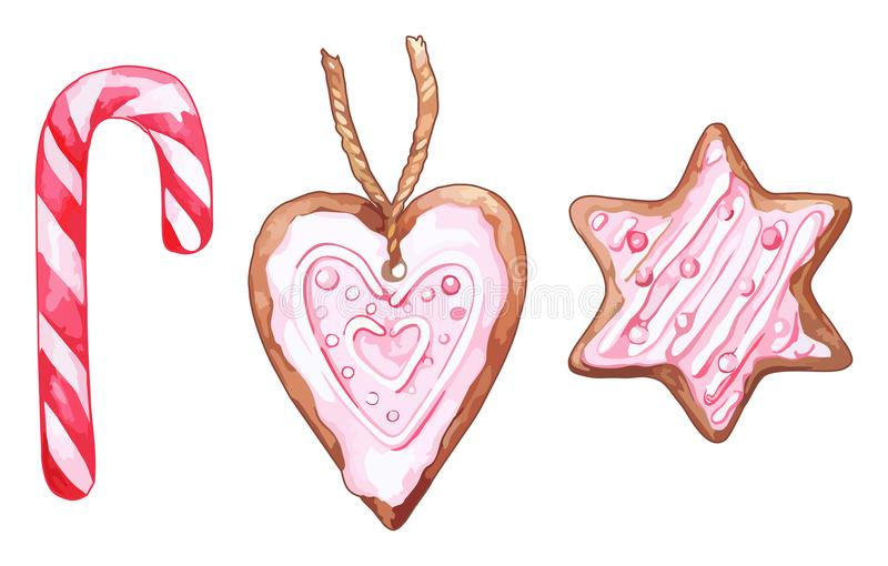 Ensemble de vecteur d'isolement par lucette six-aiguë en forme de coeur rose de canne de sucrerie de biscuit de gingembre d'étoil illustration de vecteur