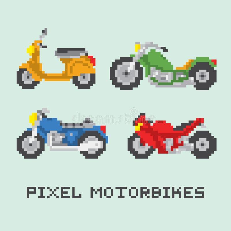 Ensemble de vecteur d'isolement par motocyclette de style d'art de pixel illustration stock