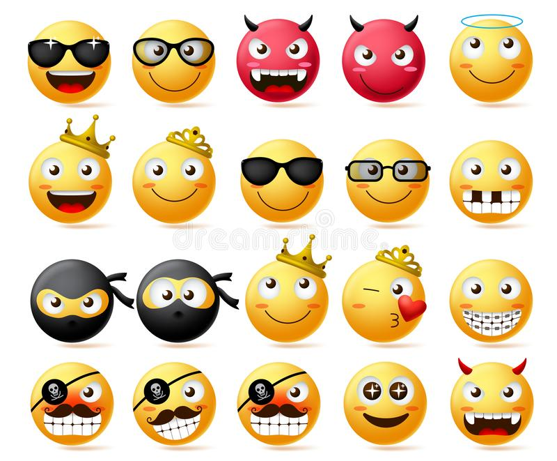 Ensemble de vecteur d'?motic?ne Visage souriant et emoji jaune de couronne de port de roi et de reine, de ninja et de pirate barb illustration stock