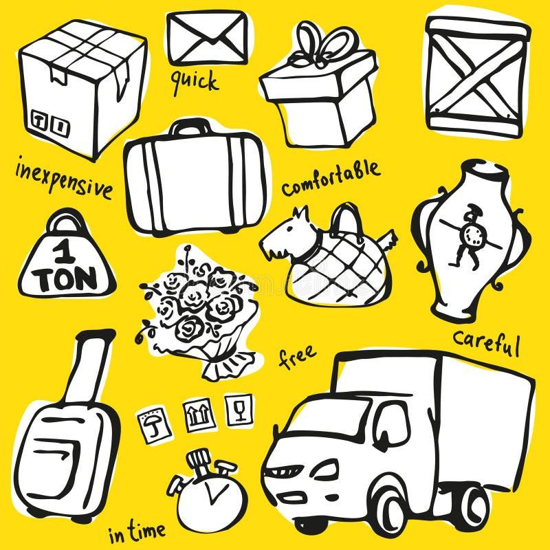 Ensemble de vecteur d'objets de service de distribution illustration de vecteur