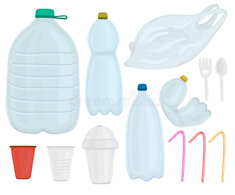 Ensemble de vecteur d'objets en plastique Arr?tez la pollution Protection de l'environnement Sauf la plan?te production d?chets-g illustration de vecteur