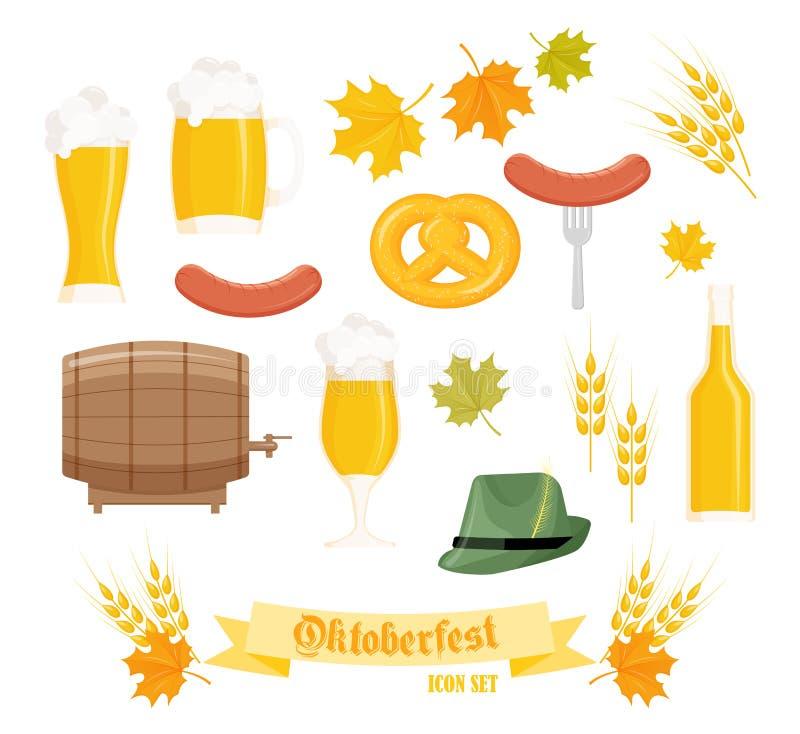 Ensemble de vecteur d'objets oktoberfest plats détaillés illustration de vecteur
