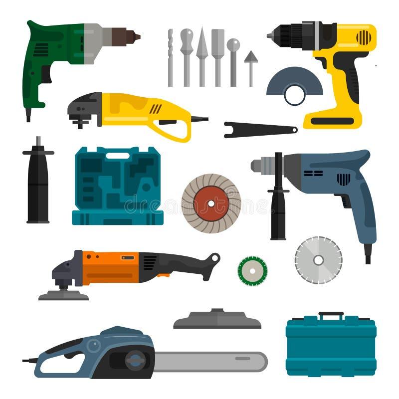 Ensemble de vecteur d'outils électriques de puissance Équipement fonctionnant de réparation et de construction illustration stock