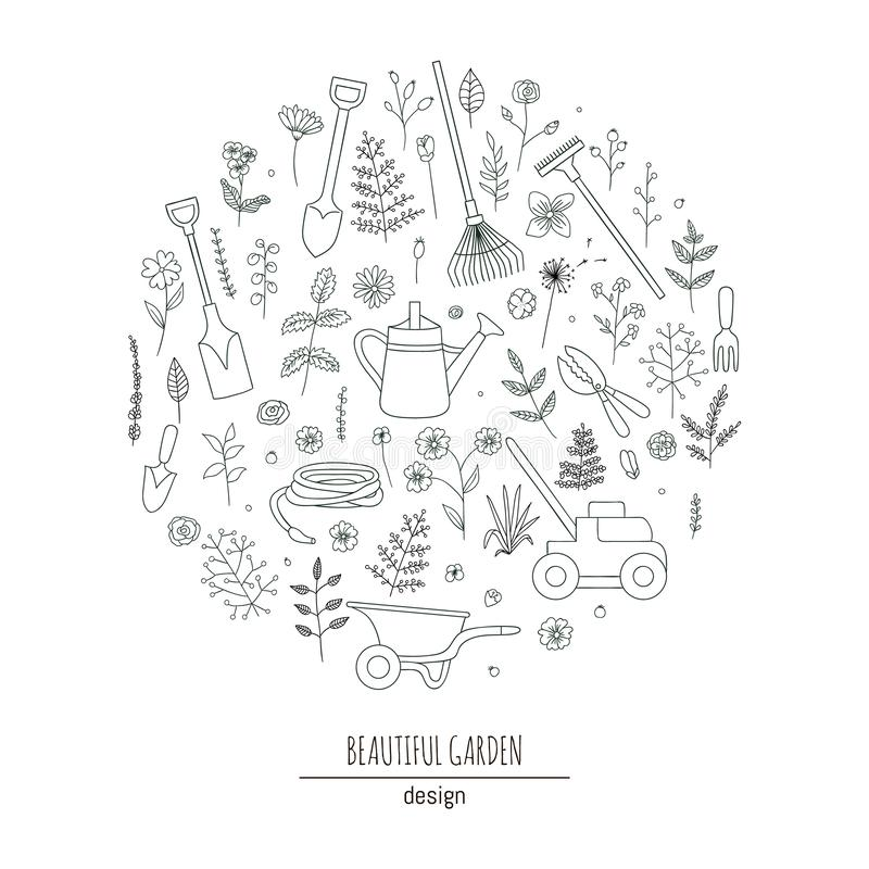 Ensemble de vecteur d'outils de jardin noirs et blancs illustration de vecteur