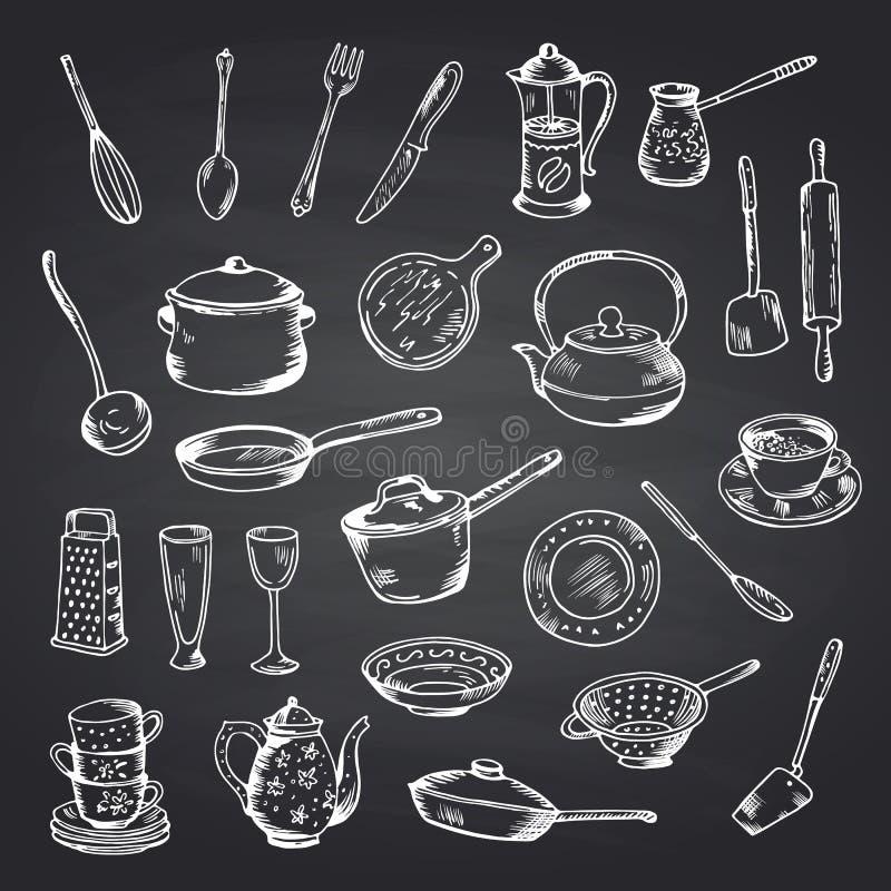 Ensemble de vecteur d'ustensiles tirés par la main de cuisine sur l'illustration noire de tableau illustration de vecteur