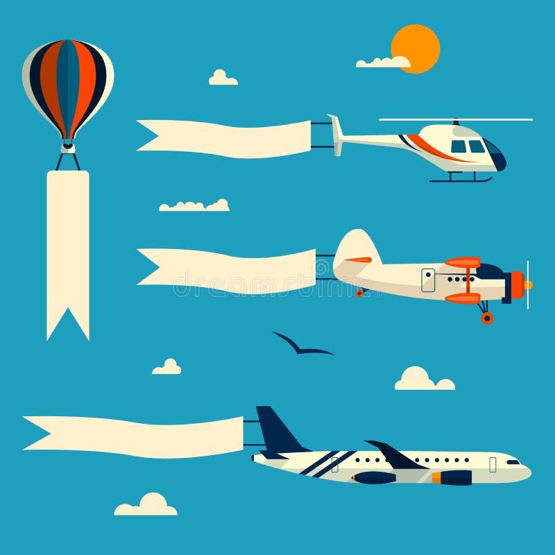 Ensemble de vecteur de ballon de vol, d'hélicoptère, d'avion et de rétro biplan avec des bannières de la publicité Calibre pour l illustration libre de droits