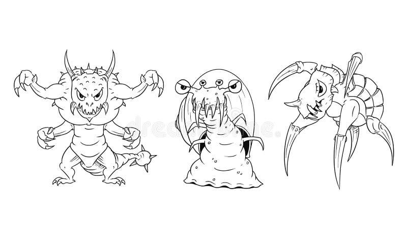 Ensemble de vecteur de bande dessinée de monstres dangereux - lézard, escargot, tortue illustration stock