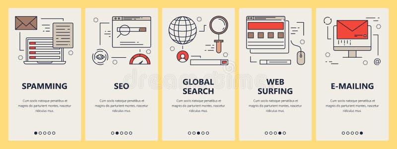 Ensemble de vecteur de bannières verticales avec les éléments surfants de concept de Spam, de seo, de recherche et de Web d'email illustration de vecteur