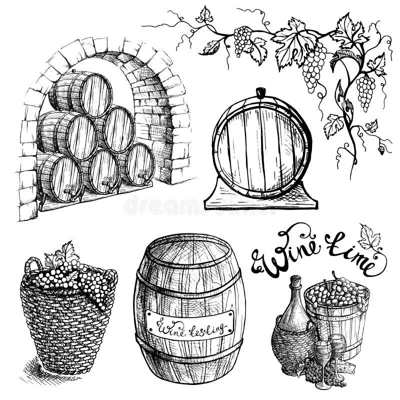 Ensemble de vecteur de barils de raisin et de vin illustration libre de droits