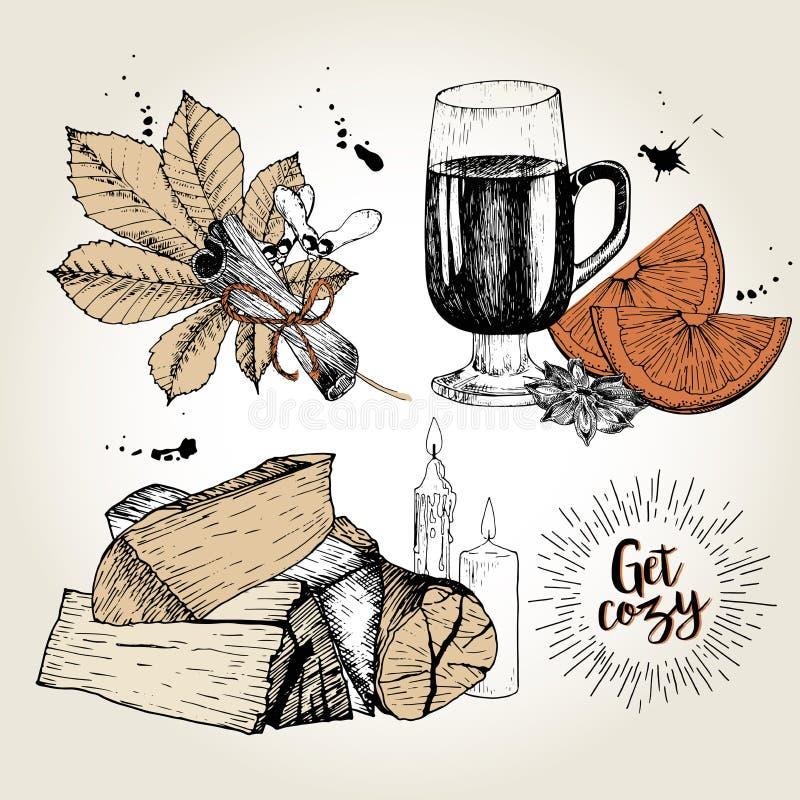 Ensemble de vecteur de bases à la maison confortables Vin chaud, anis, orange, cannelle, feuille de châtaigne, firewoods, bougies illustration libre de droits