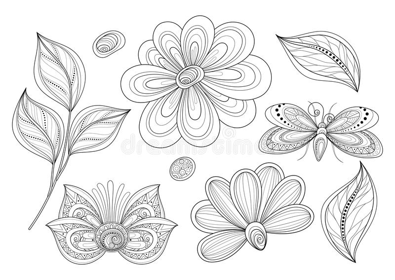 Ensemble de vecteur de beaux éléments monochromes de conception florale avec des insectes illustration stock