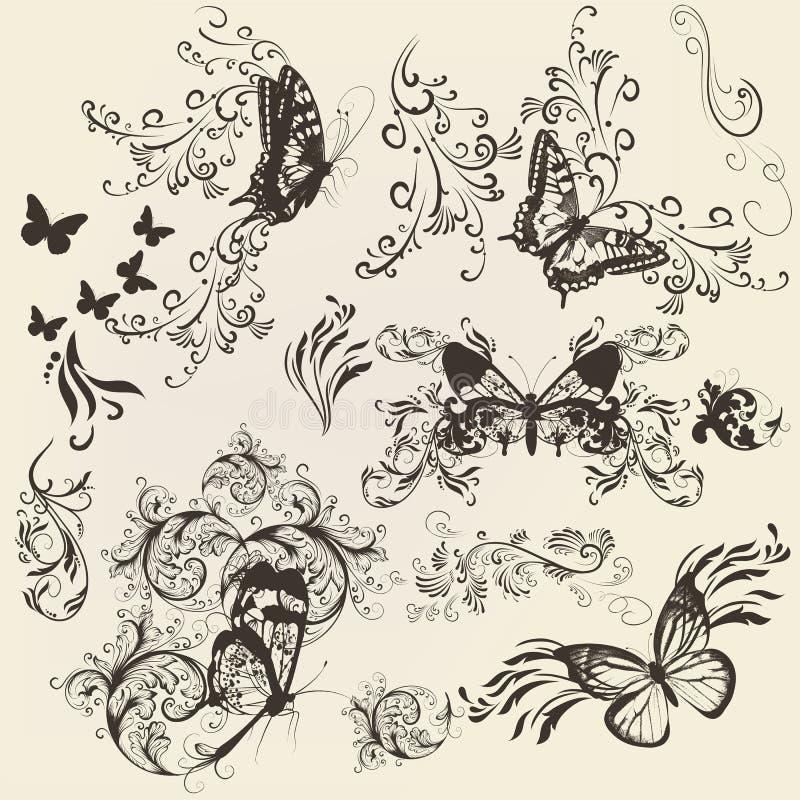Ensemble de papillons en filigrane avec l'ornement pour la conception illustration de vecteur