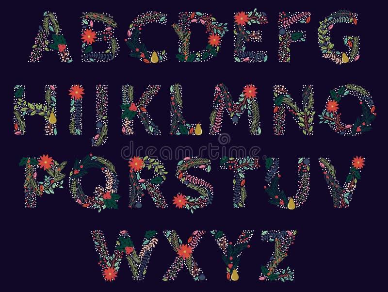 Ensemble de vecteur de bel alphabet floral de vacances de Noël ou d'hiver illustration libre de droits